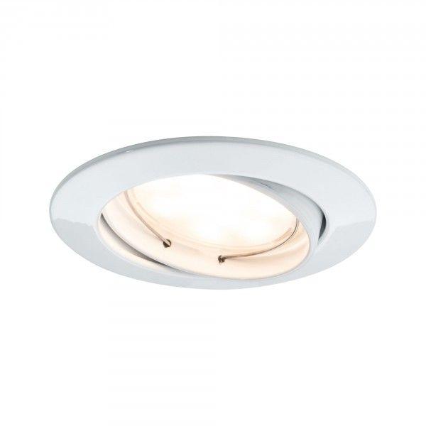Paulmann Einbauleuchten 3er-Set LED Coin rund satiniert weiß, dimm- und schwenkbar
