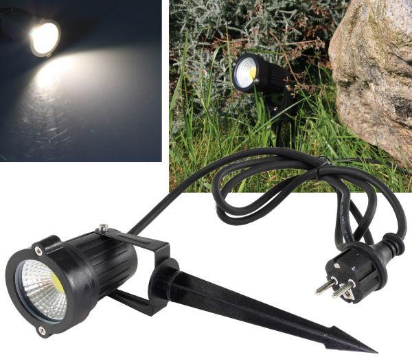 """LED Gartenleuchte """"CT-GS5"""" neutralweiß 5W, 230V, 1,5m Kabel+Erdspieß, schwarz"""