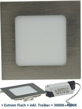 "LED Panel ""CCT-012"" 12x12cm, 600lm 9W, 3000k+4000k, dimmbar in 2Steps"