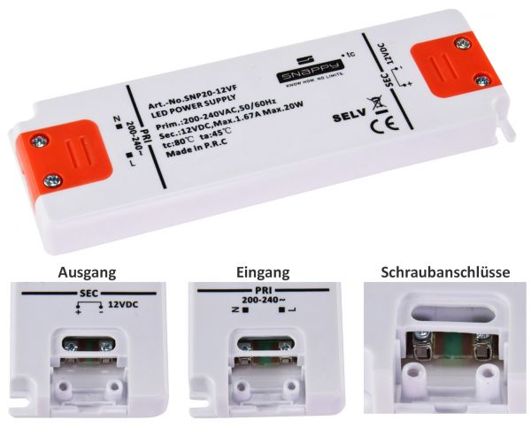 LED-Trafo 230V auf 12V=, 0,5-20 Watt Ein 180-240V, Super SlimLine