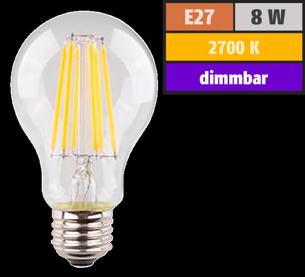 LED Filament Glühlampe, E27, 8W, 1055lm, 2700K, warmweiß, dimmbar