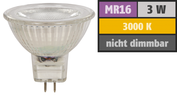 LED-Strahler McShine MCOB MR16, 3W, 250 lm, warmweiß