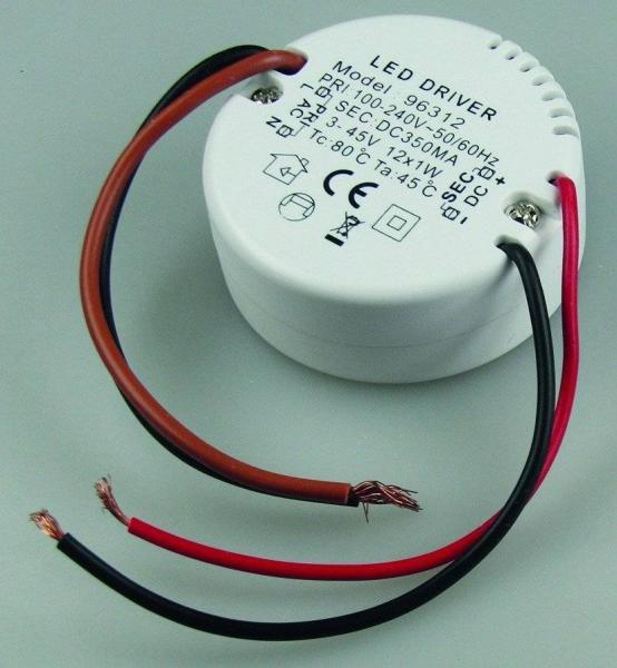 Elektronischer LED-Trafo 3-45V. rund 12x1W LEDs