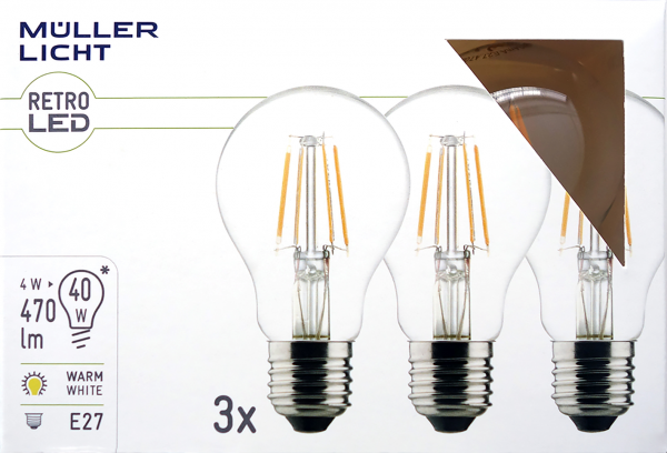 LED Filament Glühlampe, E27, 4W, 470lm, 2700K, warmweiß, 3er Set