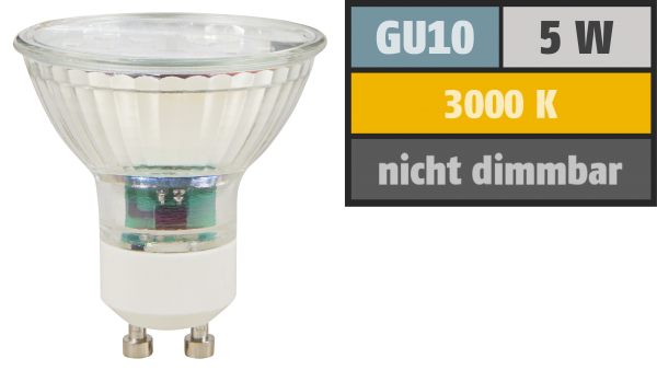 LED-Strahler McShine ET50, GU10, 5W, 400 lm, warmweiß