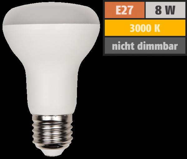 LED-Reflektorstrahler McShine, E27, R63, 8W, 680lm, 120°, 3000K, warmweiß