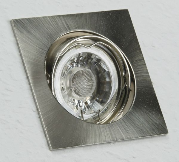 """Decken-Einbaustrahler """"SE80"""" chrom-matt schwenkbar, 80x80mm, für 50mm Lampen"""