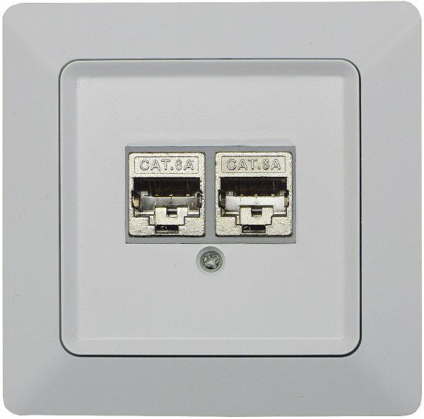 MILOS Netzwerk-Dose 2x CAT6 inkl. Rahmen, UP, matt weiß