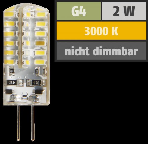 LED-Stiftsockellampe McShine Silicia, G4, 2W, 160 lm, warmweiß