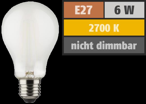 LED Filament Glühlampe, E27, 6W, 810lm, 2700K, warmweiß, matt, 2er Set