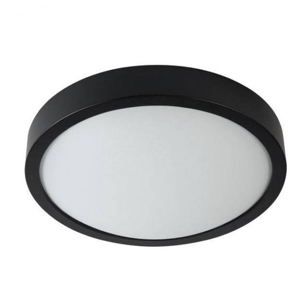 Schwarze Echtholz Deckenleuchte mit matter Echtglas Abdeckung 450 Lumen und 11 Watt Warmweiß
