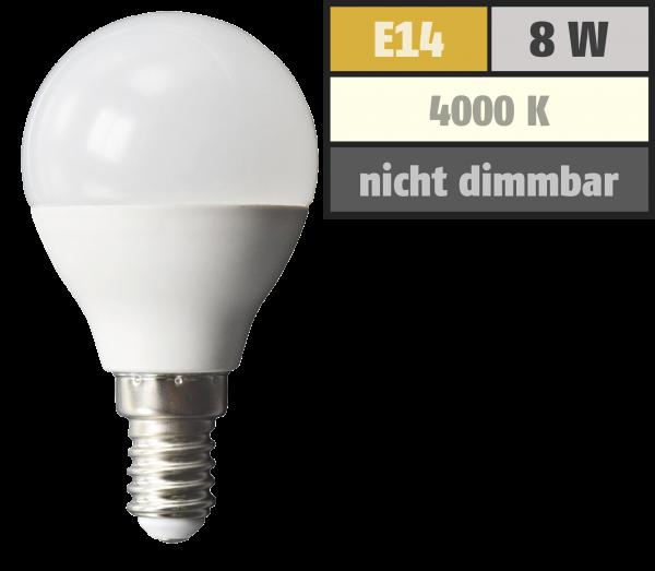 LED Tropfenlampe McShine, E14, 8W, 600lm, 160°, 4000K, neutralweiß, Ø45x88mm