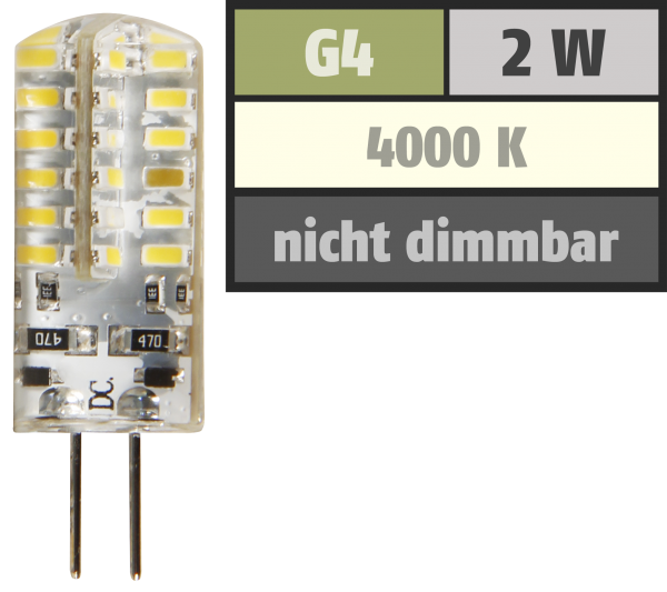 LED-Stiftsockellampe McShine Silicia, G4, 2W, 160 lm, weiß