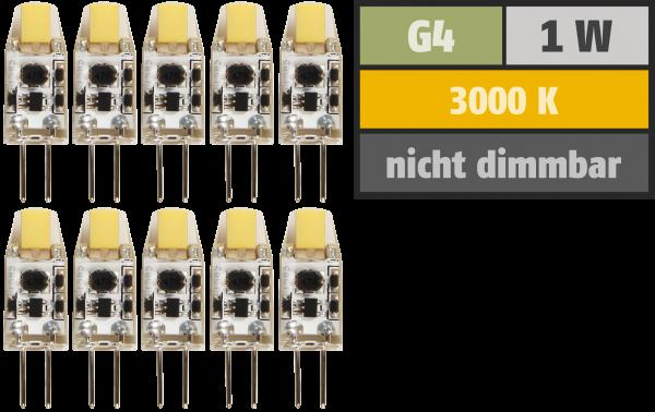 LED-Stiftsockellampe McShine Silicia COB, G4, 1W, 110lm, warmweiß, 10er-Pack