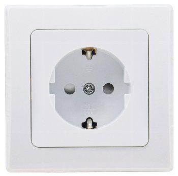 DELPHI Schutzkontakt-Steckdose, UP, weiß 250V~/ 16A, inkl. Rahmen, Klemmanschluss