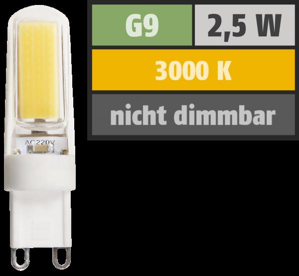 LED-Stiftsockellampe McShine Silicia COB, G9, 2,5W, 260 lm, warmweiß