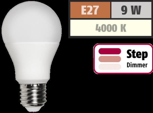 LED Glühlampe McShine, E27, 9W, 810 lm, 4000K, neutralweiß, step dimmbar 100/50/10%