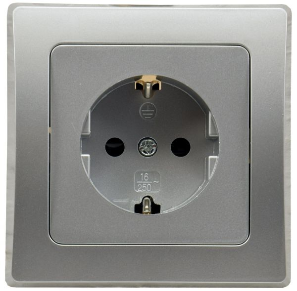 DELPHI Schutzkontakt-Steckdose, silber 250V~/ 16A, inkl. Rahmen, Klemmanschluss