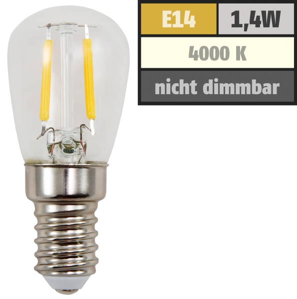 LED Filament Kolbenlampe McShine, E14, 1,4W, 120lm, 26x60mm, neutralweiß