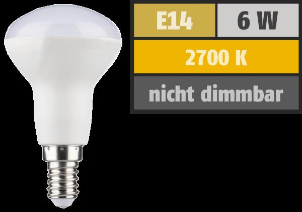 LED Reflektor R50, E14, 6W, 460lm, 2700K, warmweiß