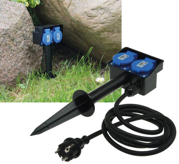 Gartensteckdose mit Erdspieß, 2-fach IP44, 10m Kabel