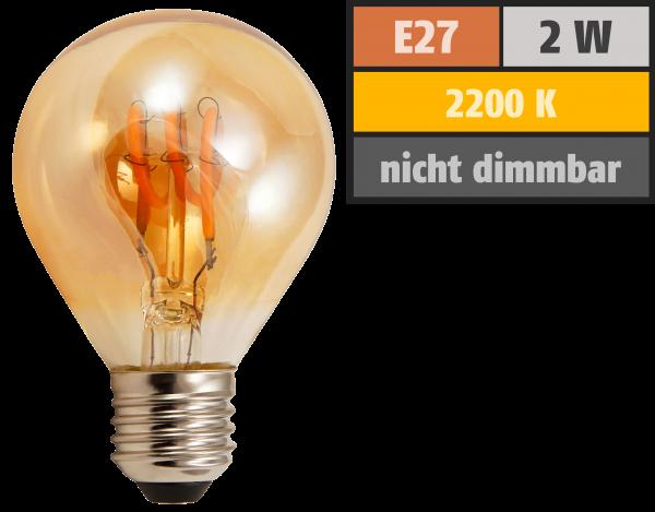 LED Filament Tropfenlampe McShine Retro E27, 2W, 150lm, warmweiß,goldenes Glas