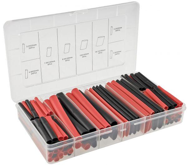 Schrumpfschlauch-Sortiment, 142-teilig Plastikbox, klebend, Ratio 3:1, schw+rot