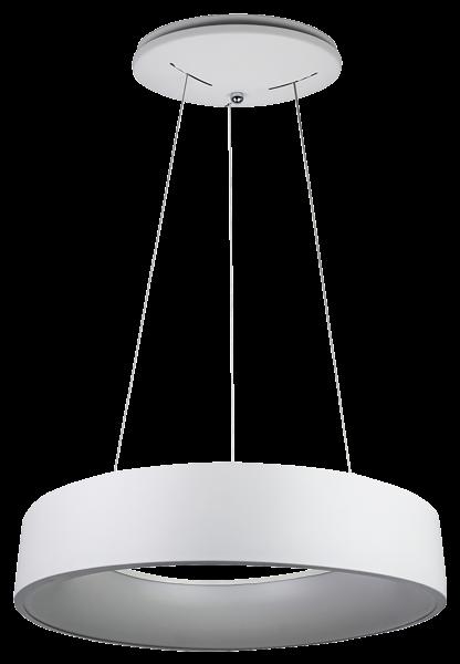 LED Hängeleuchte mit Metallring, 20W, 1725lm, 140LED's, warmweiß Ø 450mm, weiß