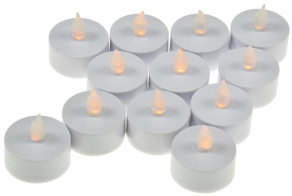 flackerndes LED Teelicht / LED-Kerze 12er-Set