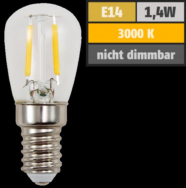 LED Filament Kolbenlampe McShine, E14, 1,4W, 120lm, 26x60mm, warmweiß