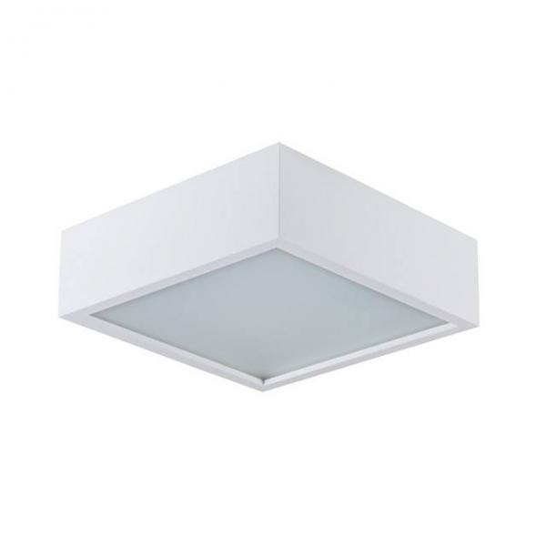 Quadratische Deckenleuchte 265mm x 80mm aus Echtholz in Weiß mit matter Echtglasabdeckung und E27 Fa