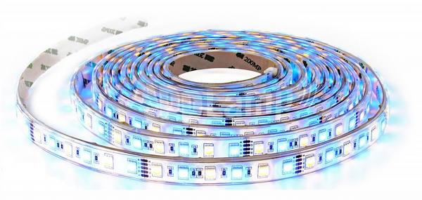 LED-Stripe 60LED/m, 900lm/m, 10,8W/m, 12V, RGB + tageslichtweiß 6000k, 5m