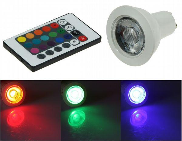 GU10 LED Leuchtmittel 3 Watt RGB und Warmweiß inkl. Fernbedienung