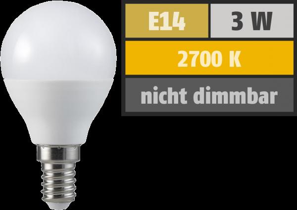 LED Tropfenlampe, E14, 3W, 250lm, 2700K, warmweiß, 3+1 Set
