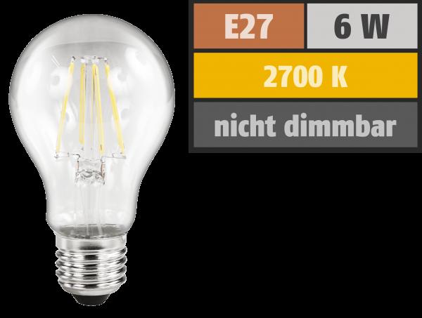 LED Filament Glühlampe McShine Filed, E27, 6W, 630 lm, warmweiß