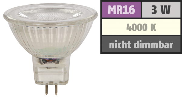 LED-Strahler McShine MCOB MR16, 3W, 250 lm, neutralweiß