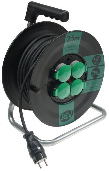 Kunststoff-Kabeltrommel, 25m Kabel, IP44 H05RR-F 3G1,5mm², schwarze Gummileitung