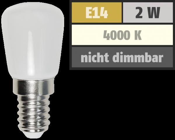 LED Kolbenlampe McShine, E14, 2W, 160lm, 260°, 23x51mm, neutralweiß