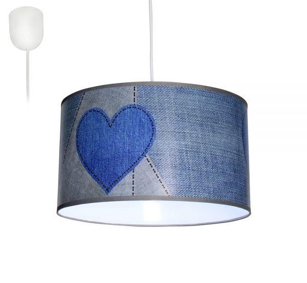 Bioledex ANISO Pendelleuchte Jeans Design Herz blau E27 35cm L110928