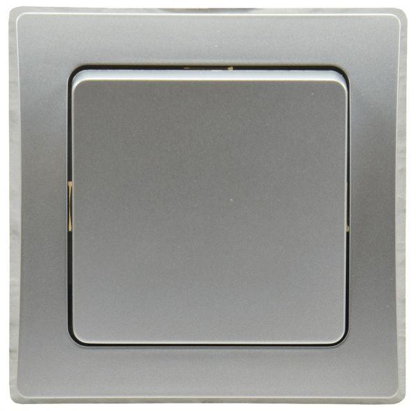 DELPHI Wechsel-Schalter, UP, silber 250V~/ 10A, inkl. Rahmen, Klemmanschluss