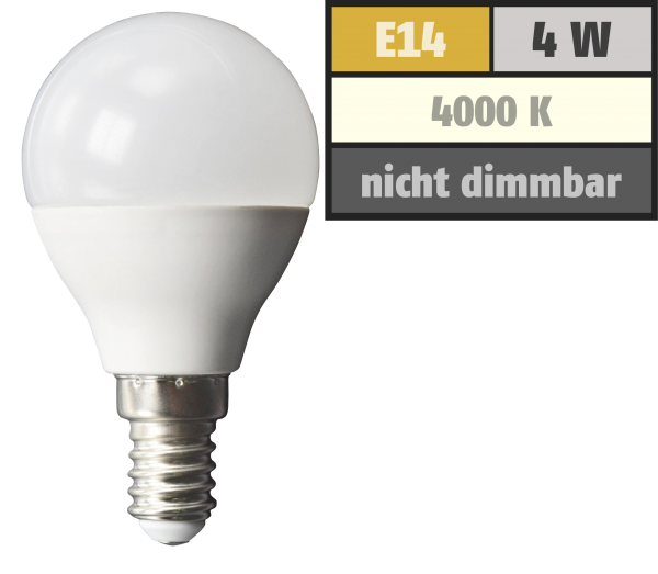 LED Tropfenlampe McShine, E14, 4W, 320lm, 160°, 4000K, neutralweiß, Ø45x78mm