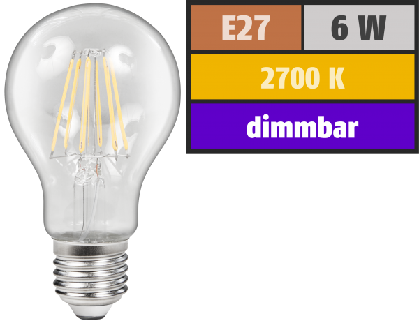 LED Filament Glühlampe McShine Filed, E27, 6W, 600 lm, warmweiß, dimmbar, klar