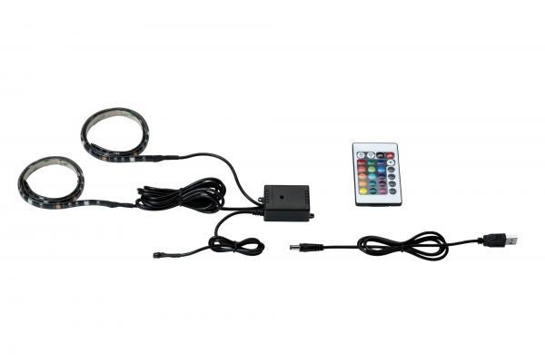 TV-Hintergrundbeleuchtung LED-Strip 2,5W RGB mit USB-Anschluss und Farbwechsel 2x50cm