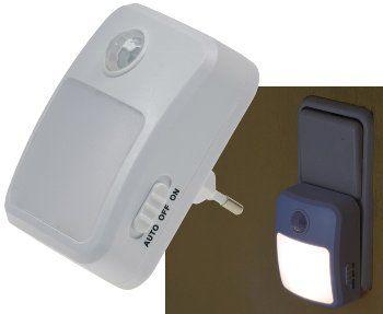 LED Nachtlicht mit Bewegungsmelder 230V, 6 weiße LEDs, On/Off/Auto