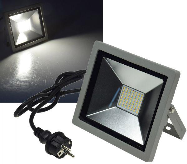 "LED-Fluter SlimLine ""CTF-SLT 30"" silber 30W, 2100lm, 4000K, neutralweiß, IP44"