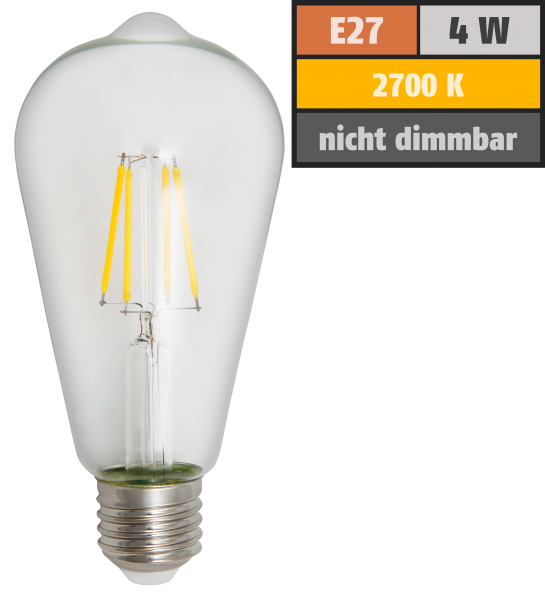 LED Filament Glühlampe McShine Filed E27, ST64, 4W, 470lm, warmweiß, klar