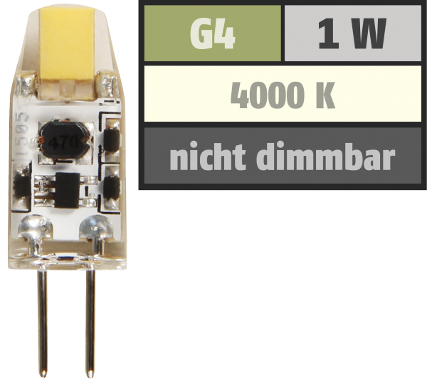 LED-Stiftsockellampe McShine Silicia COB, G4, 1W, 110 lm, weiß
