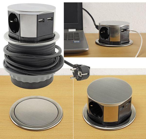 Schreibtisch-Einbausteckdose 3x + 2xUSB versenkbar, Edelstahl-Ausführung, rund