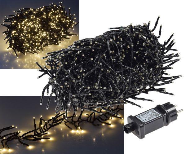 """LED Büschel-Lichterkette """"CT-BLK080"""" 8m warmweiß, 8 Effekte, IP44, 800 LEDs"""