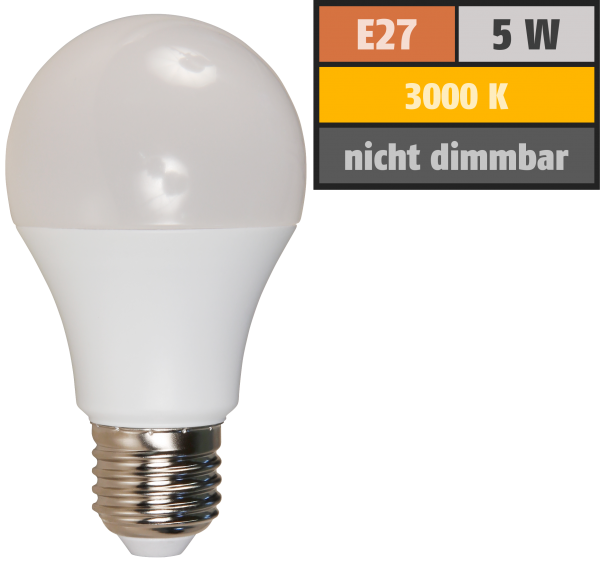 LED Glühlampe McShine, E27, 5W, 450lm, 240°, 3000K, warmweiß, Ø60x109mm